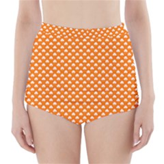 White Heart-Shaped Clover on Orange St. Patrick s Day High-Waisted Bikini Bottoms