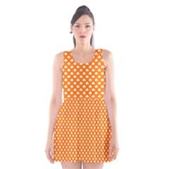 White Heart-Shaped Clover on Orange St. Patrick s Day Scoop Neck Skater Dress