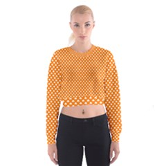 White Heart-Shaped Clover on Orange St. Patrick s Day Cropped Sweatshirt