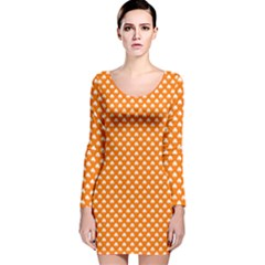 White Heart-Shaped Clover on Orange St. Patrick s Day Long Sleeve Velvet Bodycon Dress