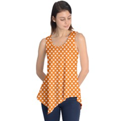 White Heart Shaped Clover On Orange St  Patrick s Day Sleeveless Tunic