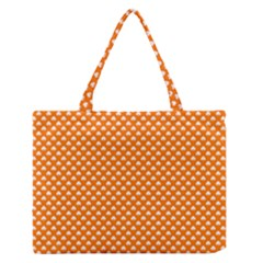 White Heart-Shaped Clover on Orange St. Patrick s Day Medium Zipper Tote Bag