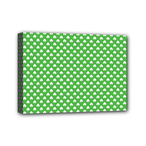 White Heart-Shaped Clover on Green St. Patrick s Day Mini Canvas 7  x 5