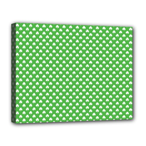 White Heart-Shaped Clover on Green St. Patrick s Day Canvas 14  x 11