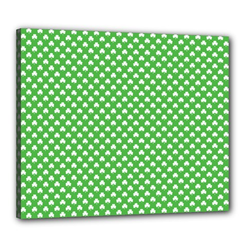 White Heart-Shaped Clover on Green St. Patrick s Day Canvas 24  x 20