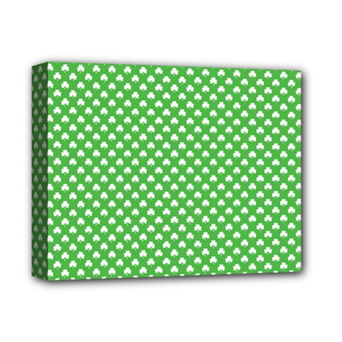 White Heart-Shaped Clover on Green St. Patrick s Day Deluxe Canvas 14  x 11