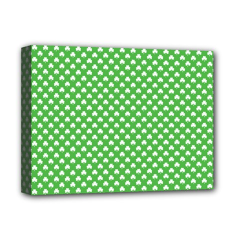 White Heart-Shaped Clover on Green St. Patrick s Day Deluxe Canvas 16  x 12