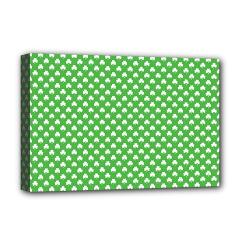 White Heart-Shaped Clover on Green St. Patrick s Day Deluxe Canvas 18  x 12