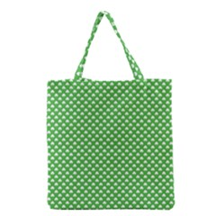 White Heart-Shaped Clover on Green St. Patrick s Day Grocery Tote Bag