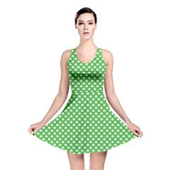 White Heart-Shaped Clover on Green St. Patrick s Day Reversible Skater Dress