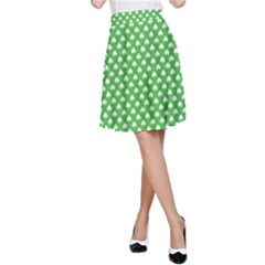 White Heart-Shaped Clover on Green St. Patrick s Day A-Line Skirt