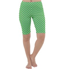 White Heart-Shaped Clover on Green St. Patrick s Day Cropped Leggings