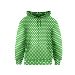 White Heart-Shaped Clover on Green St. Patrick s Day Kids  Zipper Hoodie