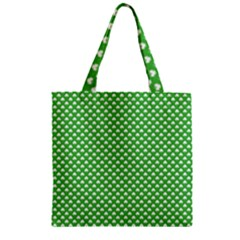 White Heart-Shaped Clover on Green St. Patrick s Day Zipper Grocery Tote Bag