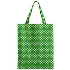White Heart-Shaped Clover on Green St. Patrick s Day Zipper Classic Tote Bag