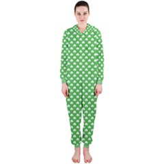 White Heart-Shaped Clover on Green St. Patrick s Day Hooded Jumpsuit (Ladies)