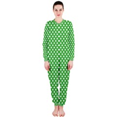 White Heart-Shaped Clover on Green St. Patrick s Day OnePiece Jumpsuit (Ladies)