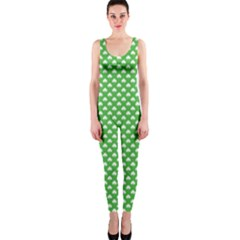 White Heart-Shaped Clover on Green St. Patrick s Day OnePiece Catsuit