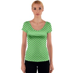 White Heart-Shaped Clover on Green St. Patrick s Day Women s V-Neck Cap Sleeve Top