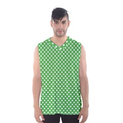 White Heart-Shaped Clover on Green St. Patrick s Day Men s Basketball Tank Top