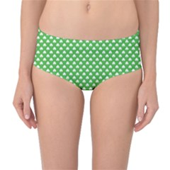 White Heart-Shaped Clover on Green St. Patrick s Day Mid-Waist Bikini Bottoms