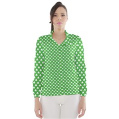 White Heart-Shaped Clover on Green St. Patrick s Day Wind Breaker (Women)