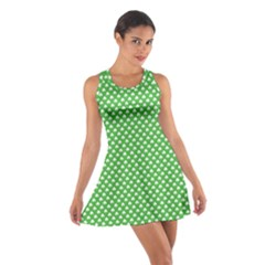 White Heart-Shaped Clover on Green St. Patrick s Day Cotton Racerback Dress