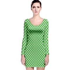 White Heart-Shaped Clover on Green St. Patrick s Day Long Sleeve Velvet Bodycon Dress