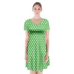White Heart-Shaped Clover on Green St. Patrick s Day Short Sleeve V-neck Flare Dress