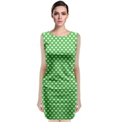 White Heart-Shaped Clover on Green St. Patrick s Day Classic Sleeveless Midi Dress