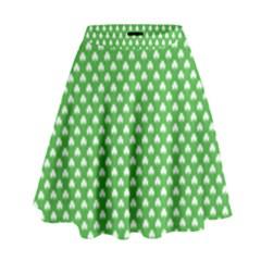 White Heart-Shaped Clover on Green St. Patrick s Day High Waist Skirt