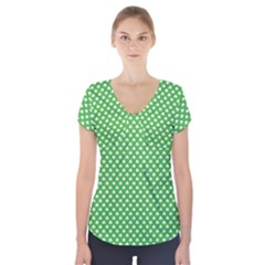 White Heart-Shaped Clover on Green St. Patrick s Day Short Sleeve Front Detail Top