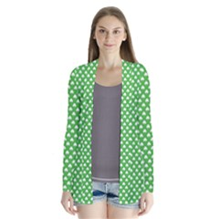 White Heart-Shaped Clover on Green St. Patrick s Day Cardigans