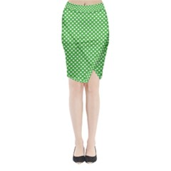 White Heart-Shaped Clover on Green St. Patrick s Day Midi Wrap Pencil Skirt