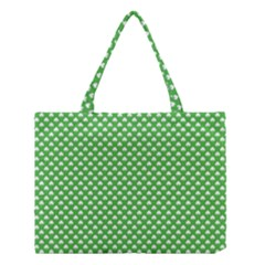 White Heart-Shaped Clover on Green St. Patrick s Day Medium Tote Bag