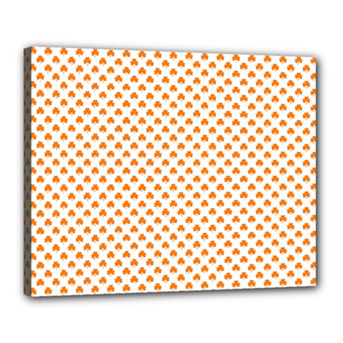 Orange Heart-Shaped Clover on White St. Patrick s Day Canvas 20  x 16
