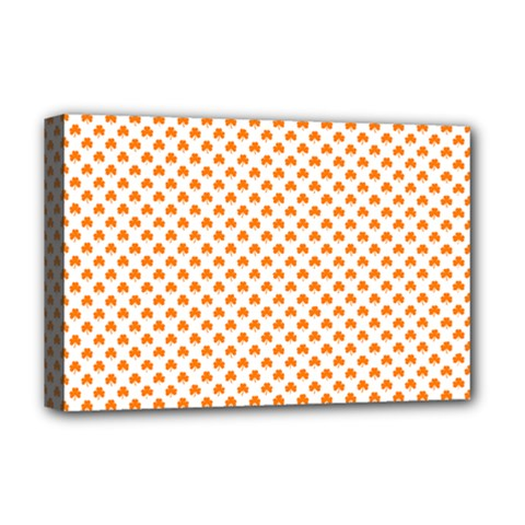 Orange Heart-Shaped Clover on White St. Patrick s Day Deluxe Canvas 18  x 12