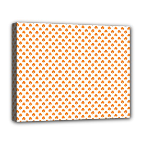 Orange Heart-Shaped Clover on White St. Patrick s Day Deluxe Canvas 20  x 16