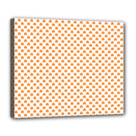 Orange Heart-Shaped Clover on White St. Patrick s Day Deluxe Canvas 24  x 20