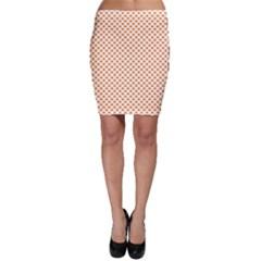 Orange Heart-Shaped Clover on White St. Patrick s Day Bodycon Skirt