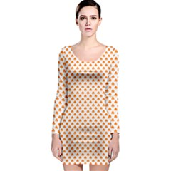 Orange Heart-Shaped Clover on White St. Patrick s Day Long Sleeve Bodycon Dress