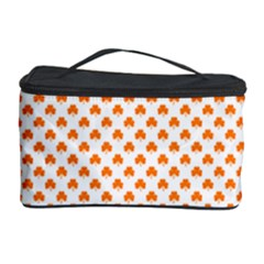 Orange Heart-Shaped Clover on White St. Patrick s Day Cosmetic Storage Case
