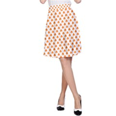 Orange Heart-Shaped Clover on White St. Patrick s Day A-Line Skirt