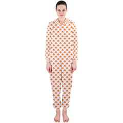 Orange Heart-Shaped Clover on White St. Patrick s Day Hooded Jumpsuit (Ladies)