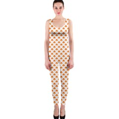 Orange Heart-Shaped Clover on White St. Patrick s Day OnePiece Catsuit