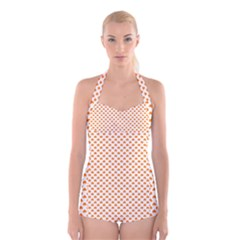 Orange Heart-Shaped Clover on White St. Patrick s Day Boyleg Halter Swimsuit