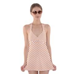 Orange Heart-Shaped Clover on White St. Patrick s Day Halter Swimsuit Dress