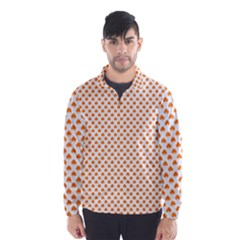 Orange Heart Shaped Clover On White St  Patrick s Day Wind Breaker (men)