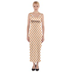 Orange Heart-Shaped Clover on White St. Patrick s Day Fitted Maxi Dress