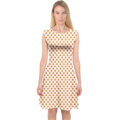 Orange Heart-Shaped Clover on White St. Patrick s Day Capsleeve Midi Dress